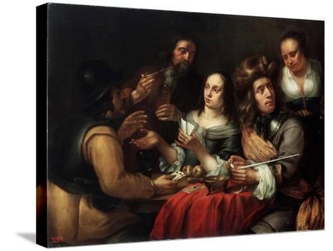 Card Game, 17th Century-Dingeman Van Der Hagen-Stretched Canvas Print