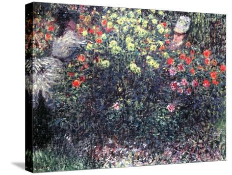 Girls in a Solid Mass of Dahlias, 1875-Claude Monet-Stretched Canvas Print