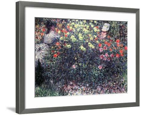Girls in a Solid Mass of Dahlias, 1875-Claude Monet-Framed Art Print