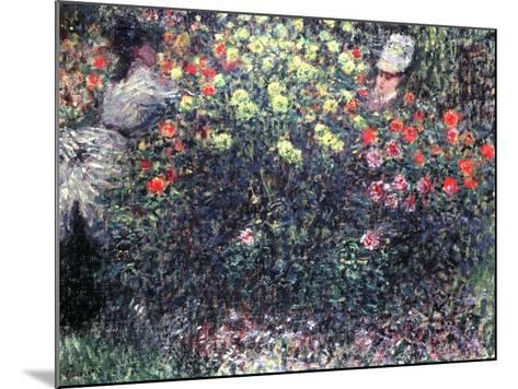 Girls in a Solid Mass of Dahlias, 1875-Claude Monet-Mounted Giclee Print