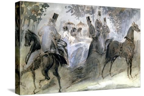The Elegant Horse and Riders, C1822-1892-Constantin Guys-Stretched Canvas Print