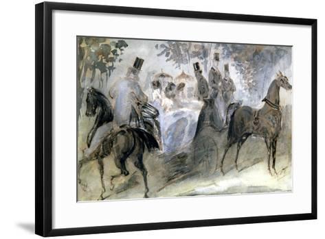 The Elegant Horse and Riders, C1822-1892-Constantin Guys-Framed Art Print