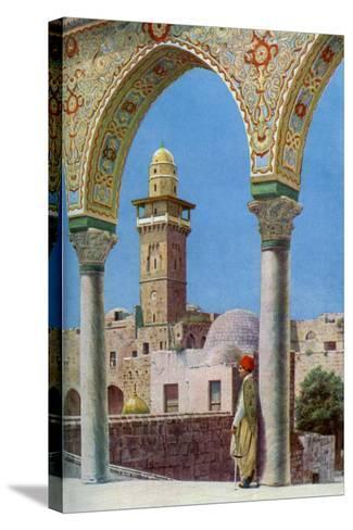 Islamic Minaret on Temple Mount, Jerusalem, Palestine, C1930S-Donald Mcleish-Stretched Canvas Print