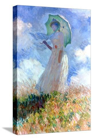Woman with Umbrella Turned to the Left, 1886-Claude Monet-Stretched Canvas Print