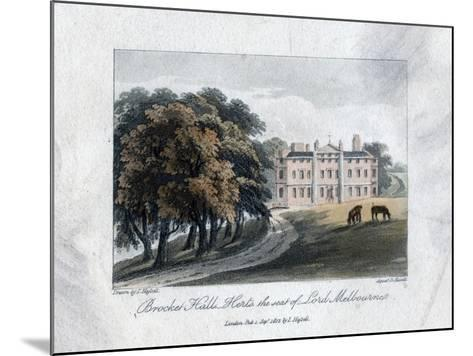 Brocket Hall, Herts, the Seat of Lord Melbourne, 1817-Daniel Havell-Mounted Giclee Print