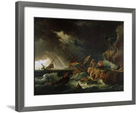 Storm at the Sea, 1740S-Claude Joseph Vernet-Framed Art Print