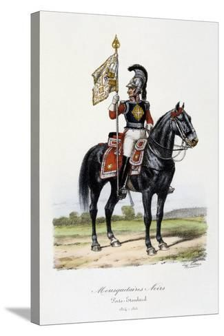 Mousquetaires Noirs, Standard Bearer, 1814-15-Eugene Titeux-Stretched Canvas Print