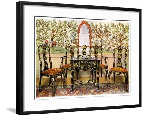 Black Lacquer Settee, Chairs and Table and Red Lacquer Mirror, 1910-Edwin Foley-Framed Art Print