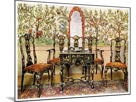 Black Lacquer Settee, Chairs and Table and Red Lacquer Mirror, 1910-Edwin Foley-Mounted Giclee Print