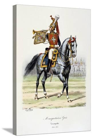 Mousquetaires Gris, Trumpeter, 1814-15-Eugene Titeux-Stretched Canvas Print