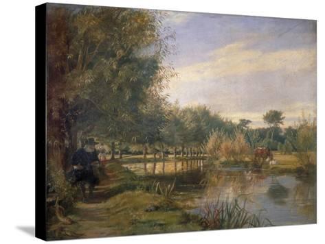 Izaak Walton Fishing, 1850-EM Ward-Stretched Canvas Print