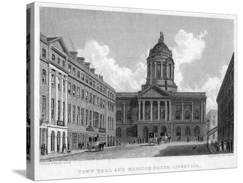 Town Hall and Mansion House, Liverpool, 19th Century-Edward Finden-Stretched Canvas Print