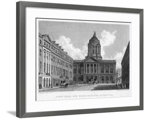 Town Hall and Mansion House, Liverpool, 19th Century-Edward Finden-Framed Art Print