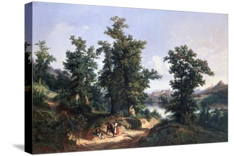 Entrance to the Forest of Saverne, 1838-Edouard Jean Marie Hostein-Stretched Canvas Print