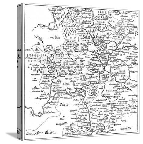 A Map of Stratford-Upon-Avon and its Surrounding Areas, 1610-Edward Hull-Stretched Canvas Print