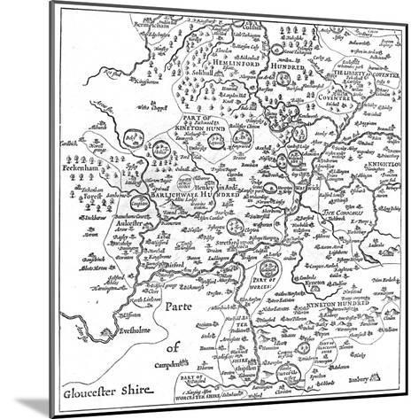 A Map of Stratford-Upon-Avon and its Surrounding Areas, 1610-Edward Hull-Mounted Giclee Print