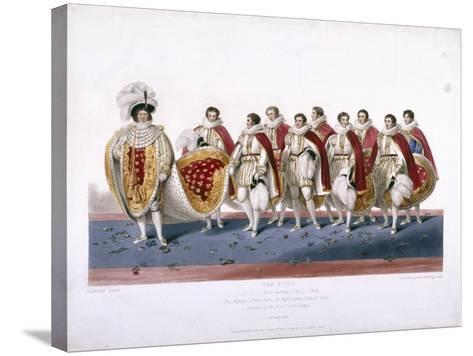 King George IV in His Royal Robes Wearing a Cap of Estate, 1826-Edward Scriven-Stretched Canvas Print