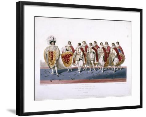 King George IV in His Royal Robes Wearing a Cap of Estate, 1826-Edward Scriven-Framed Art Print