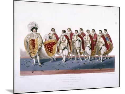 King George IV in His Royal Robes Wearing a Cap of Estate, 1826-Edward Scriven-Mounted Giclee Print
