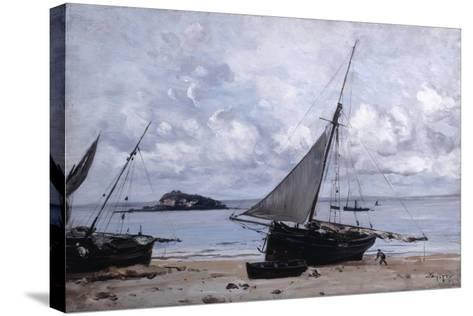 Beached Boats at St Jean, 1884-Emmanuel Lansyer-Stretched Canvas Print