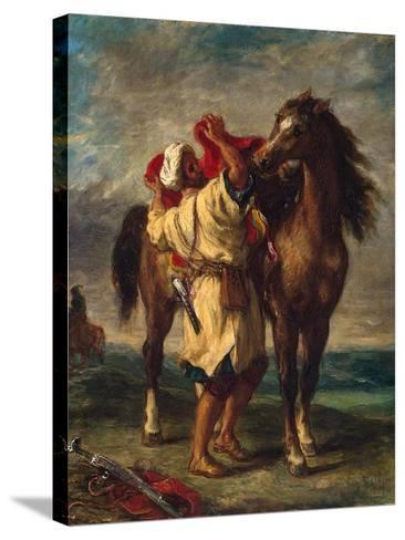 A Moroccan Saddling His Horse, 1855-Eugene Delacroix-Stretched Canvas Print