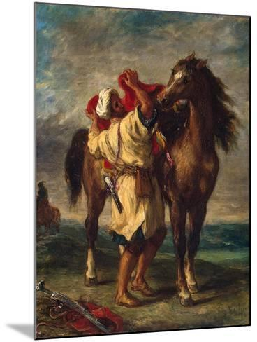 A Moroccan Saddling His Horse, 1855-Eugene Delacroix-Mounted Giclee Print