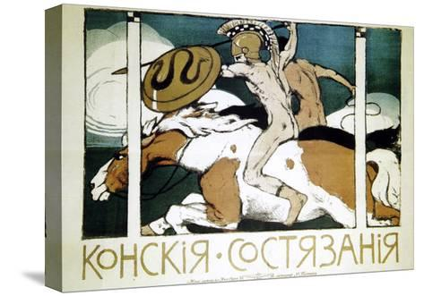 Poster Advertising Horse Racing, 1900-Evgeni Telyakovsky-Stretched Canvas Print