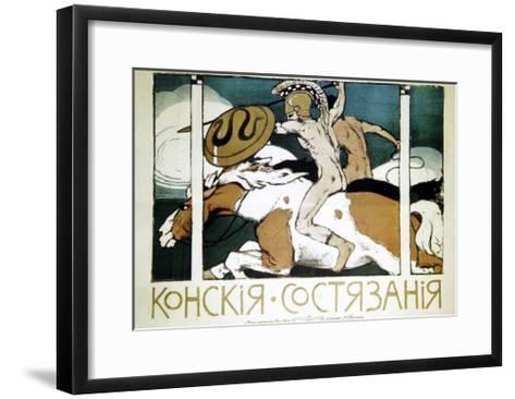 Poster Advertising Horse Racing, 1900-Evgeni Telyakovsky-Framed Art Print