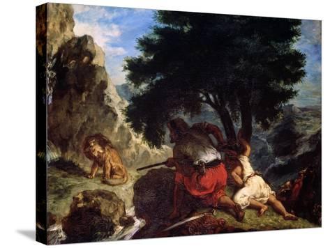 Lion Hunt in Morocco, 1854-Eugene Delacroix-Stretched Canvas Print