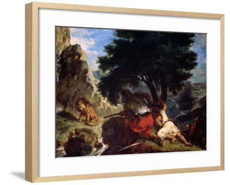 Lion Hunt in Morocco, 1854-Eugene Delacroix-Framed Art Print