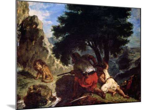 Lion Hunt in Morocco, 1854-Eugene Delacroix-Mounted Giclee Print