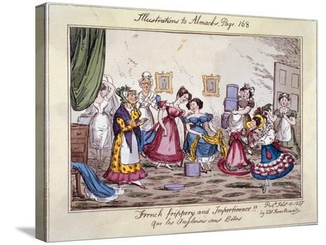 French Frippery and Impertinence!! Que Les Anglaises Sont Betes, 1827-Edwin Flood-Stretched Canvas Print