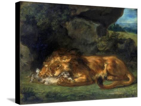 Lion Devouring a Rabbit, 19th Century-Eugene Delacroix-Stretched Canvas Print