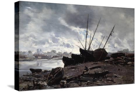 Boats Waiting for the Tide, 1882-Emmanuel Lansyer-Stretched Canvas Print