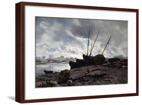 Boats Waiting for the Tide, 1882-Emmanuel Lansyer-Framed Art Print