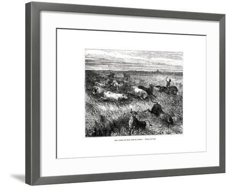 Livestock, Los Llanos, Venezuela, 19th Century-Edouard Riou-Framed Art Print