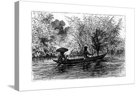 Dugout in the Essequibo River, Guyana, 19th Century-Edouard Riou-Stretched Canvas Print