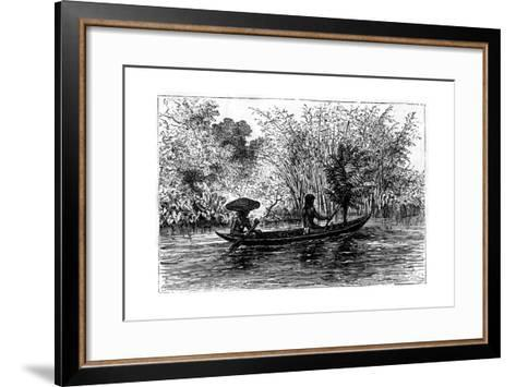Dugout in the Essequibo River, Guyana, 19th Century-Edouard Riou-Framed Art Print