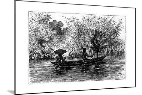 Dugout in the Essequibo River, Guyana, 19th Century-Edouard Riou-Mounted Giclee Print