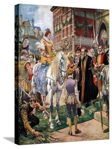 Queen Elizabeth Opening the Royal Exchange in 1570-Ernest Crofts-Stretched Canvas Print
