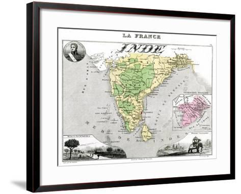 Map of French-Occupied India, Late 19th Century-Edmond Dyonnet-Framed Art Print