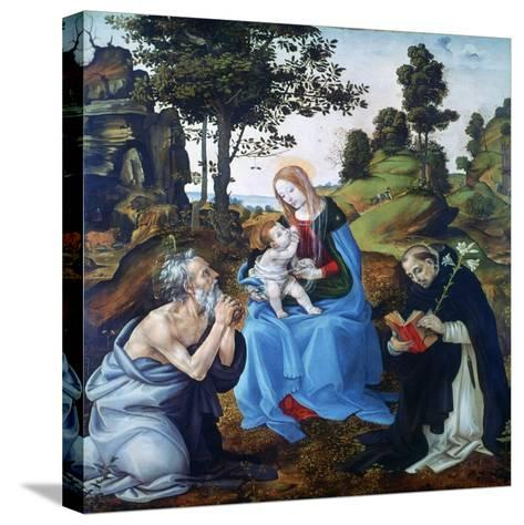 The Virgin and Child with Saints Jerome and Dominic, C1485-Filippino Lippi-Stretched Canvas Print