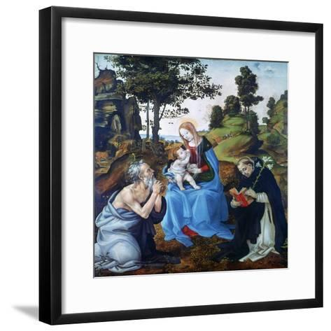 The Virgin and Child with Saints Jerome and Dominic, C1485-Filippino Lippi-Framed Art Print