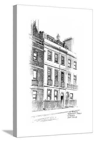 Lord Byron's House, 4 Bennet Street, St James, London, 1912-Frederick Adcock-Stretched Canvas Print