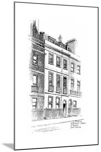 Lord Byron's House, 4 Bennet Street, St James, London, 1912-Frederick Adcock-Mounted Giclee Print