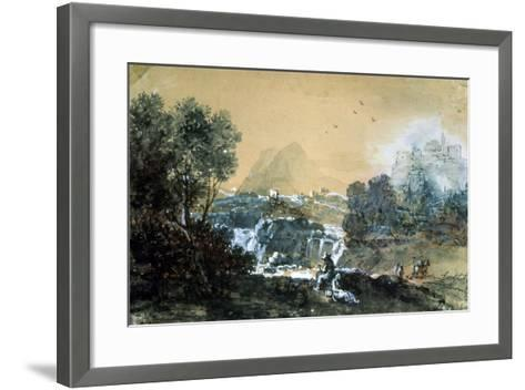 Landscape with a Waterfall, Italian Painting of 18th Century-Francesco Zuccarelli-Framed Art Print