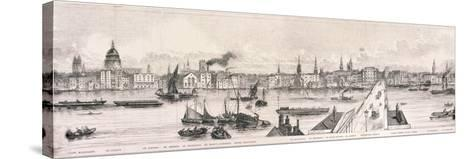 London from the River Thames, 1844-Frank Vizetelly-Stretched Canvas Print