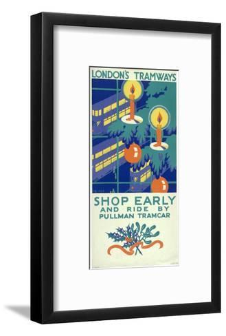 Shop Early and Ride by Pullman Tramcar, London County Council (LC) Tramways Poster, 1930-Freda Beard-Framed Art Print