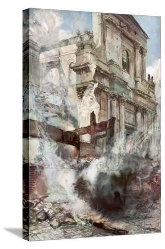 Arras Cathedral on Fire, France, July 1915-Francois Flameng-Stretched Canvas Print