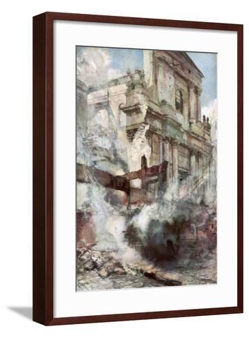 Arras Cathedral on Fire, France, July 1915-Francois Flameng-Framed Art Print
